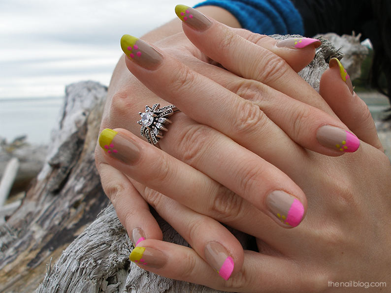 Hot pink and lime green nail design