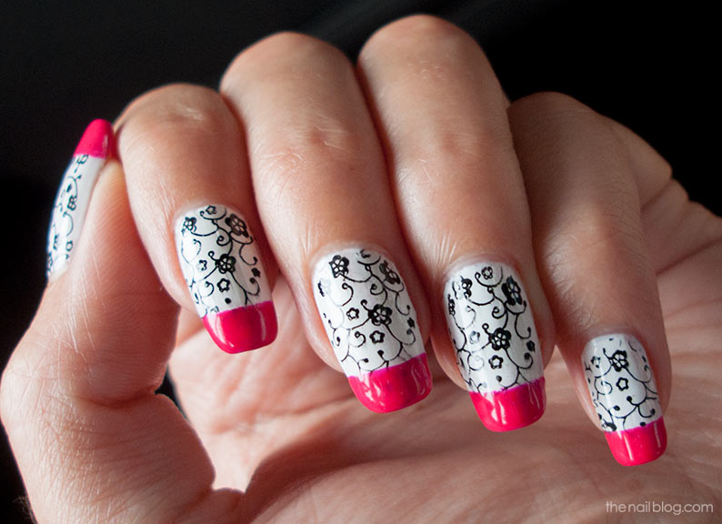 Pink black white flower konad stamping