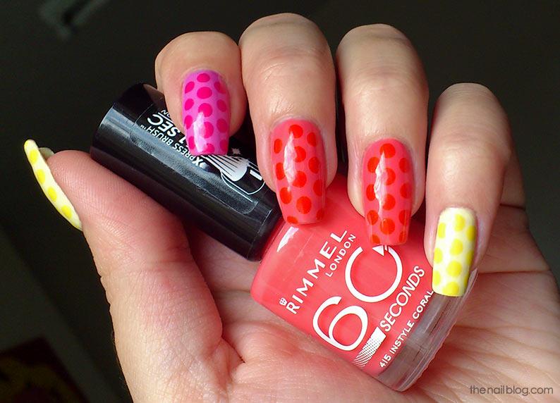 Pink orange yellow polka dot manicure