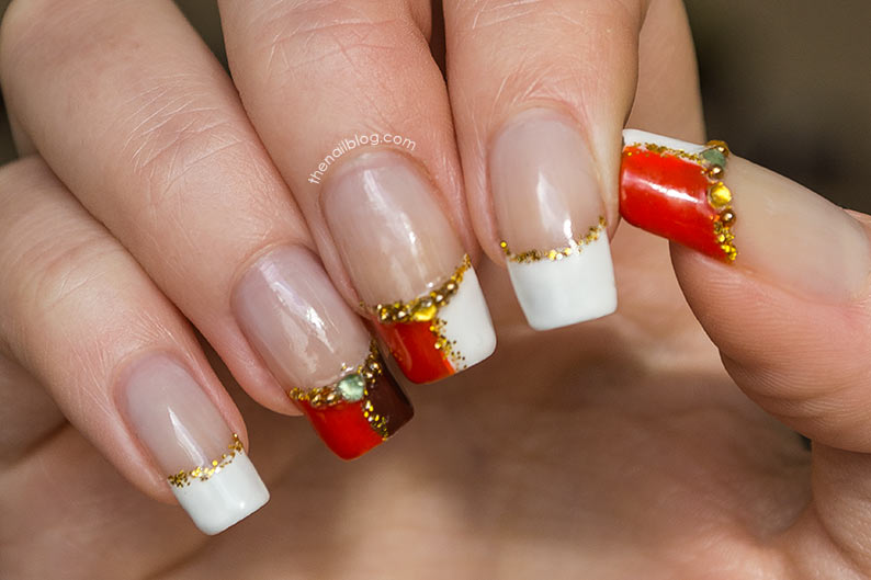 White orange half French nails
