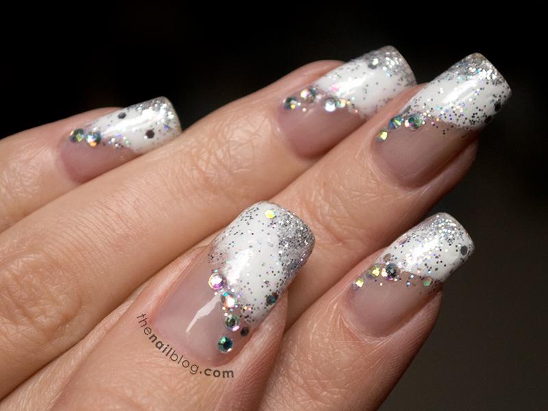 Diagonal French glitter nails