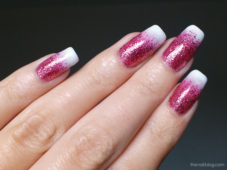 Glitter French gradient nails
